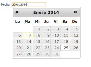 Formulario con calendario en español